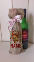 Personalized Decorated Reindeer Wine Father Christmas Xmas Santa Sack / Stocking Bag Jute Hessian